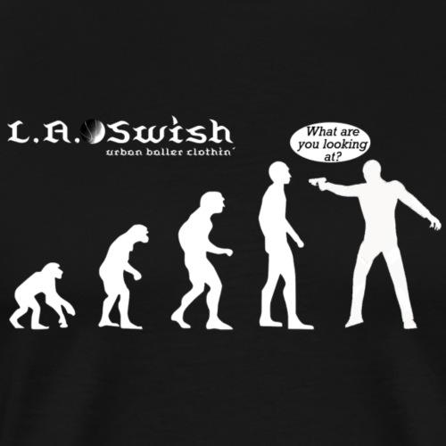 what r u lookin at white logo - Männer Premium T-Shirt