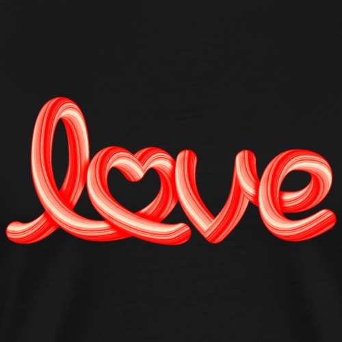Love script with heart - Männer Premium T-Shirt