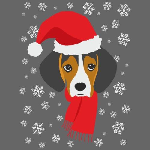 Perrito beagle vestido de Papá Noel - Camiseta premium hombre
