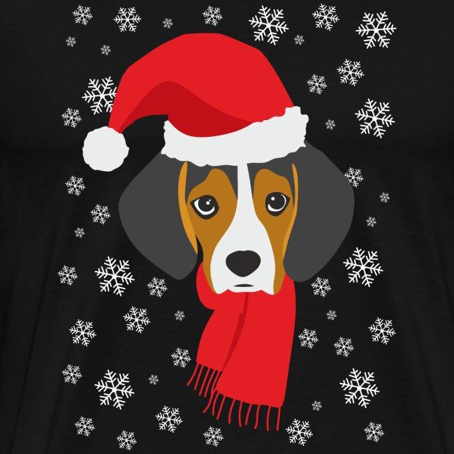 Perrito beagle vestido de Papá Noel