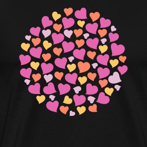 Pinke orange gelbe Herzen - Männer Premium T-Shirt