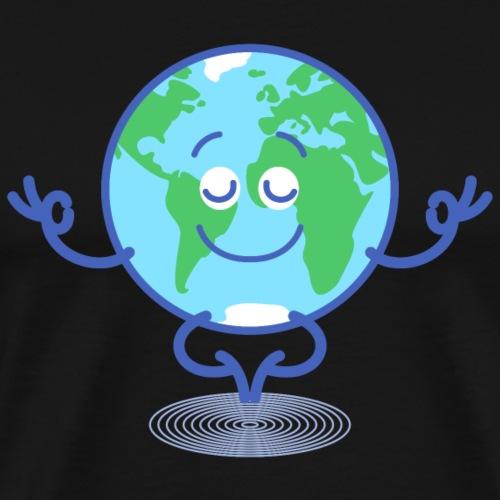 Planet Earth meditating and smiling - Men's Premium T-Shirt