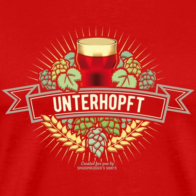 Unterhopft Bier Design Hopfen Gerste Bierglas