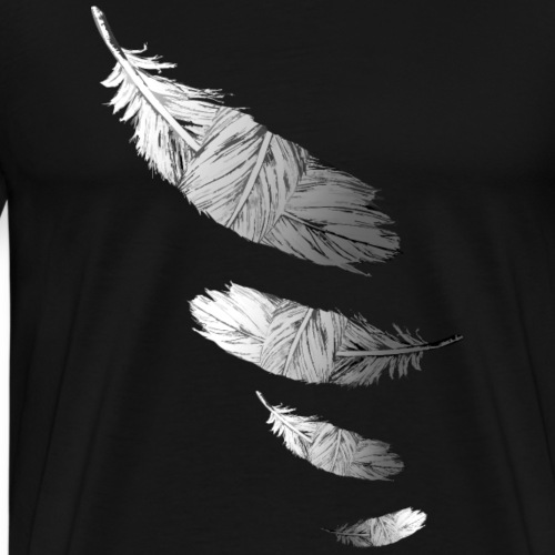 Black And White Feathers - Men's Premium T-Shirt