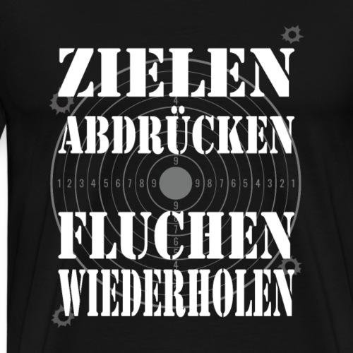 Sportschütze Zielen Abdrücken Fluchen Wiederholen - Männer Premium T-Shirt
