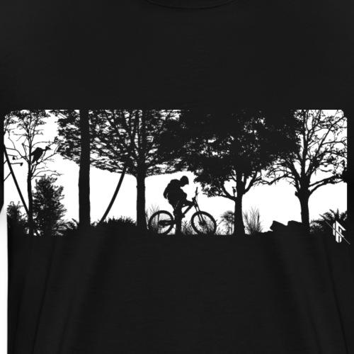 Mountainbiker Fahrradfahrer im Wald - Männer Premium T-Shirt