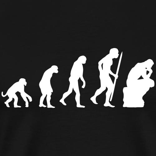 Evolutie van de denkerfilosofie grappig - Mannen Premium T-shirt