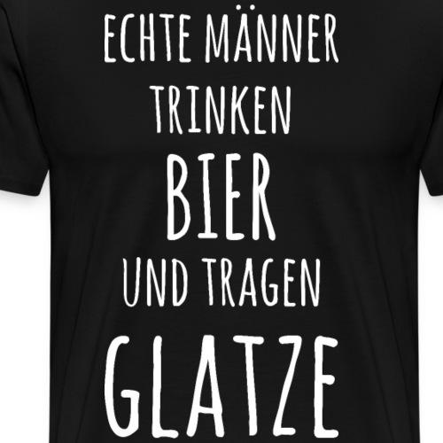 Lustiger Spruch echte Männer Glatze Haarlos - Männer Premium T-Shirt