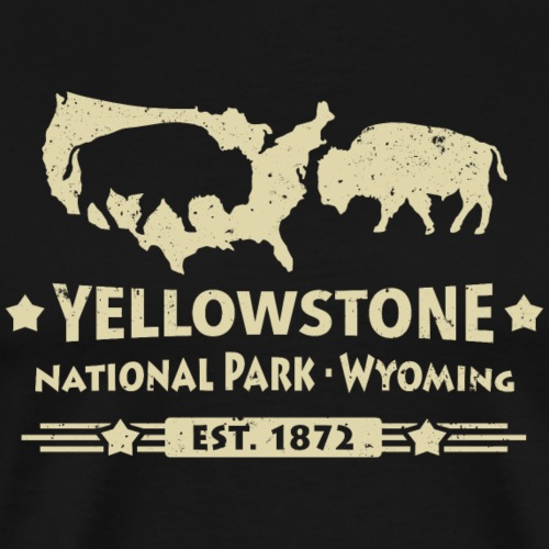 Yellowstone Nationalpark Geysire Grizzly Bison USA - Men's Premium T-Shirt