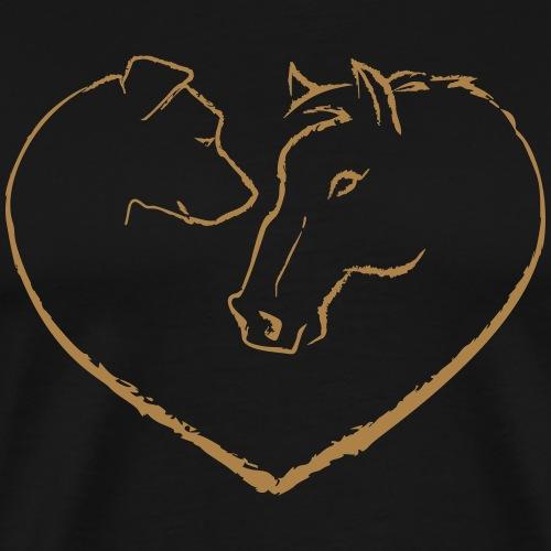 horse_dog_love_white - Männer Premium T-Shirt