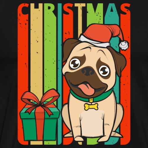 Retro Vintage Christmas Pug Puppy.Dog Lover Gifts - Men's Premium T-Shirt