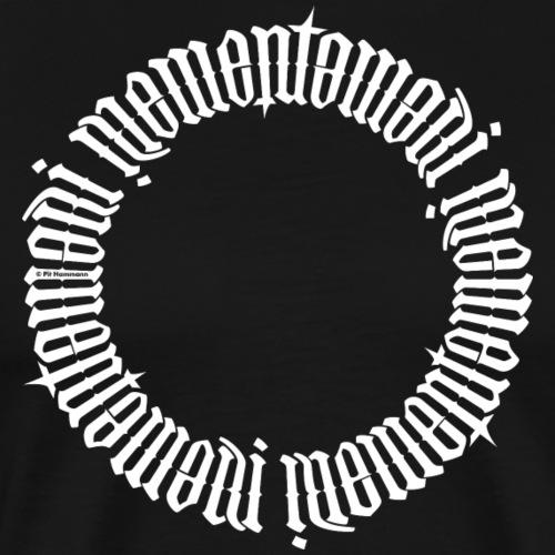 """Ambigramm """"Memento mori"""" (weiß) - Männer Premium T-Shirt"""