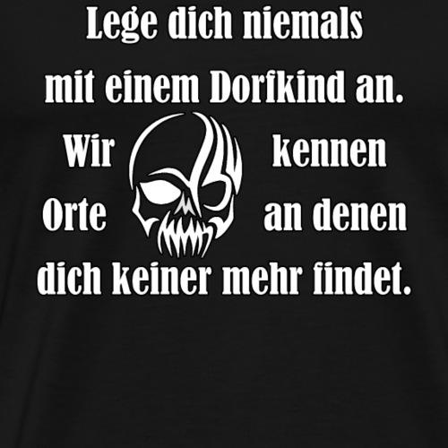 Dorfkind mit Schaedel weiss - Männer Premium T-Shirt