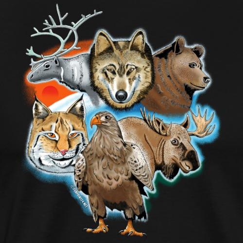 10 01 Wild life - Susi, poro, karhu, ilves, kotka - Miesten premium t-paita