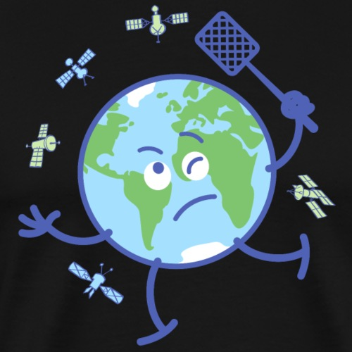 Earth chasing satellites with fly swatter - Men's Premium T-Shirt