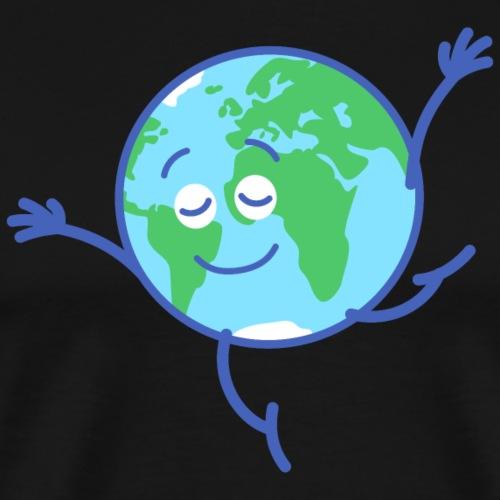 Cute planet Earth dancing graciously - Men's Premium T-Shirt