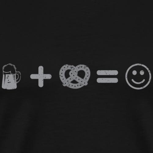 Beer plus Pretzel equals happy - Men's Premium T-Shirt
