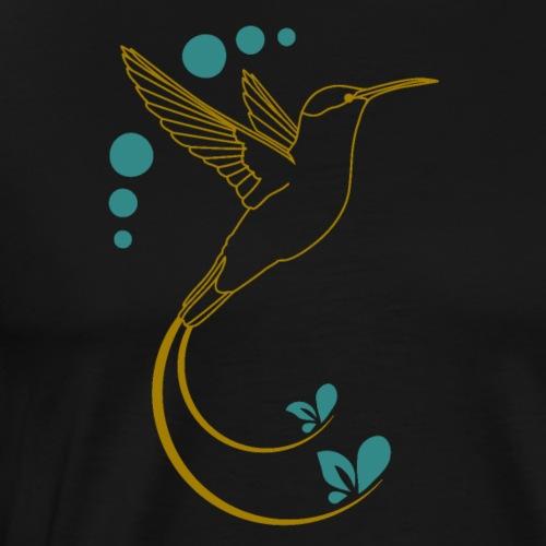 Gelber Kolibri mit Ornamente - Männer Premium T-Shirt