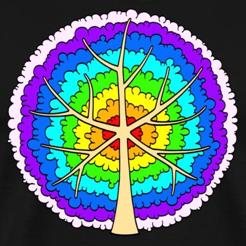 Baum, rund, Regenbogen heller - Männer Premium T-Shirt