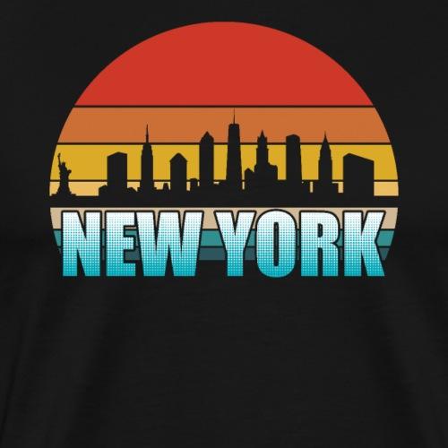New York Skyline Silhouette Retro - Men's Premium T-Shirt