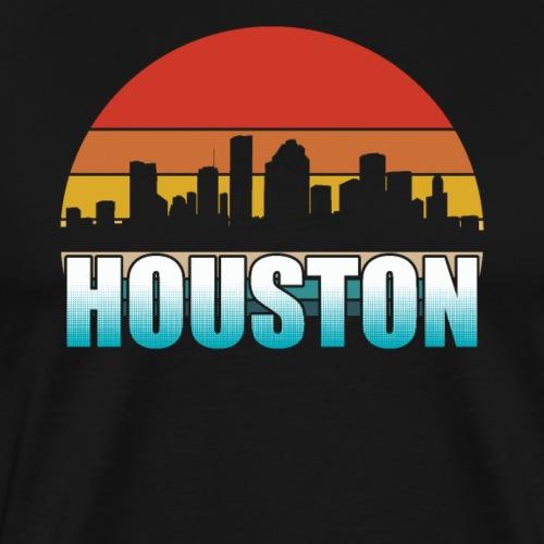 Houston Skyline Silhouette Retro - Men's Premium T-Shirt