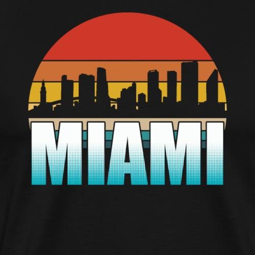 Miami Skyline Silhouette Retro - Men's Premium T-Shirt