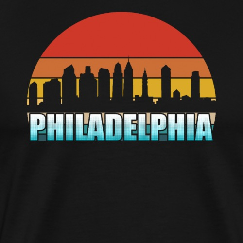 Philadelphia Skyline Silhouette Retro - Men's Premium T-Shirt