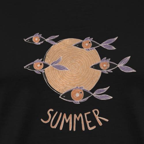 Psychedelic Fish Floating in Summer - Maglietta Premium da uomo