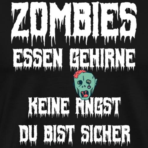 Zombie Halloween Gehirn Spruch Shirt Geschenk - Männer Premium T-Shirt