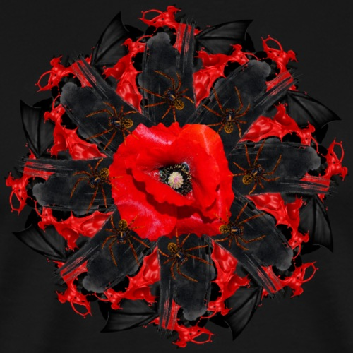 black red creepy mandala - Men's Premium T-Shirt
