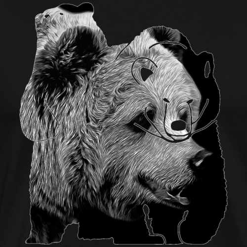 gxp kodiak braunbär vector kunst schwarz weiß - Männer Premium T-Shirt