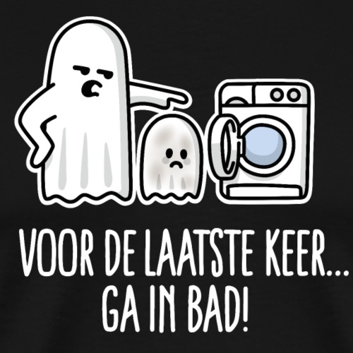 Grappige Halloween ga in bad spook cartoon kind - Mannen Premium T-shirt