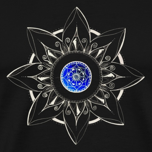 Mandala Blume weiss, Mitte blau - Männer Premium T-Shirt