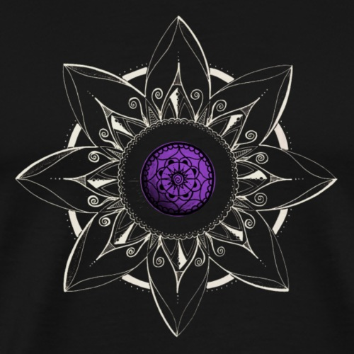 Mandala Blume in weiss, Mitte lila - Männer Premium T-Shirt