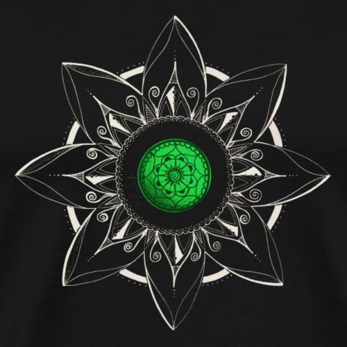 Mandala Blume in weiss, Mitte grün - Männer Premium T-Shirt