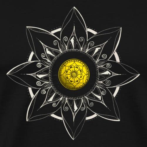 Mandala Blume in weiss, Mitte gelb - Männer Premium T-Shirt