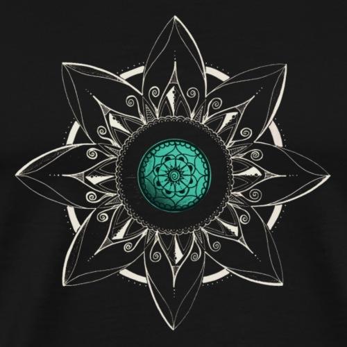 Mandala Blume in weiss, Mitte türkis - Männer Premium T-Shirt