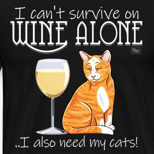 Wine Alone Cats II - Miesten premium t-paita