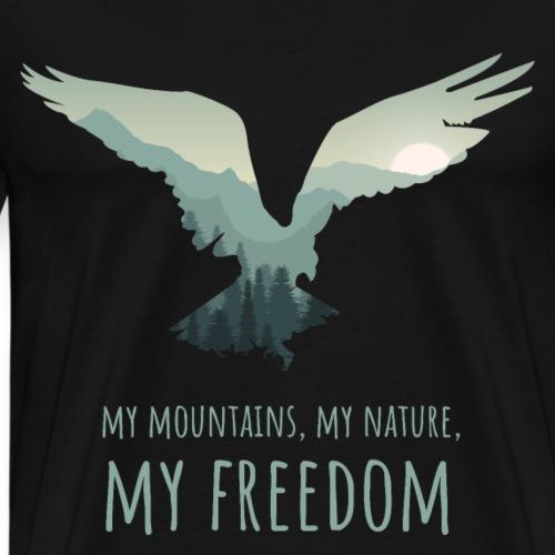 Wandern Berge Freiheit NATUR SPRUCH - Männer Premium T-Shirt
