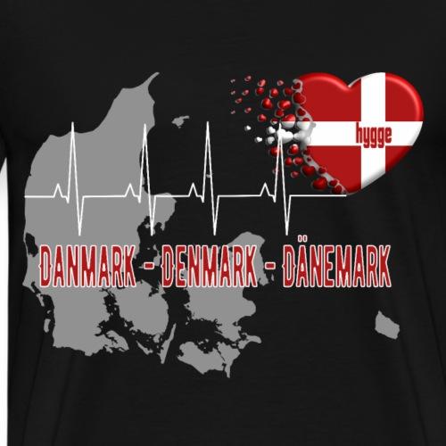 Dänemark Denmark Danmark Hygge Herzschlag EKG - Männer Premium T-Shirt