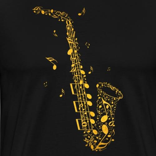 Goldenes Saxophon aus Musiknoten - Männer Premium T-Shirt