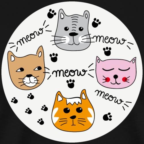 Miau Meow Katzen Cats - Männer Premium T-Shirt