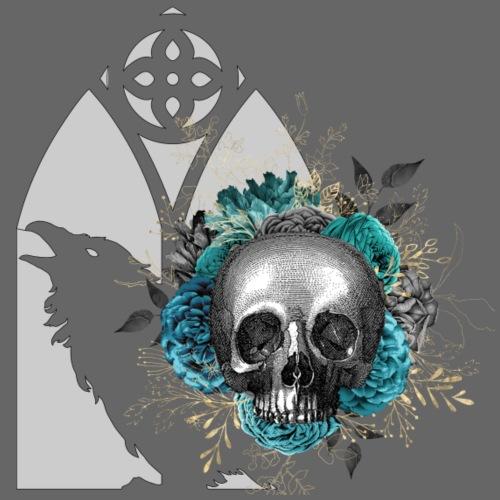 Türkiser Blumenschädel am Rabenfenster - Männer Premium T-Shirt