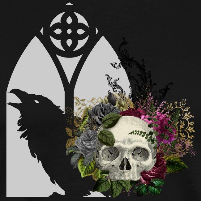 Floral Skull at Raven Window