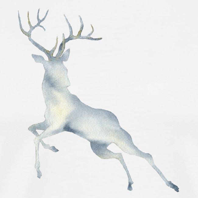 Watercolor Deer jumping