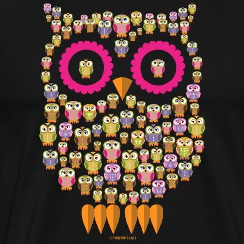 10-30 OWL FAMILY - PÖLLÖPERHE Textiles and Gifts - Miesten premium t-paita