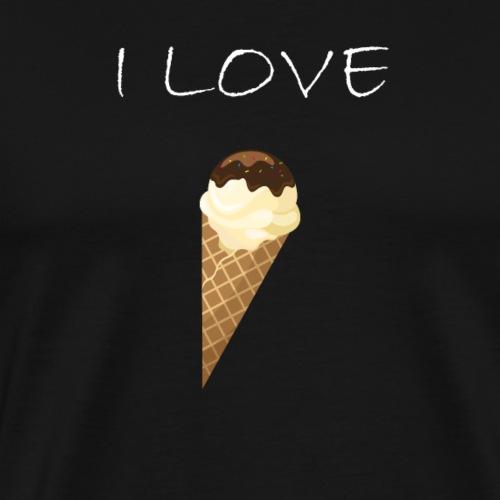 Eis I love Icecream Waffel Shirt - Männer Premium T-Shirt