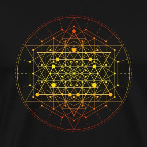 Sacred Geometry Yellow Tesseract - Men's Premium T-Shirt