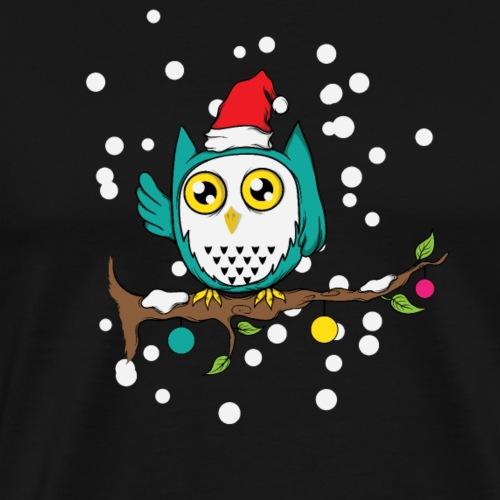 Weihnachtseule Schnee Kulleraugen Schneeeule - Männer Premium T-Shirt