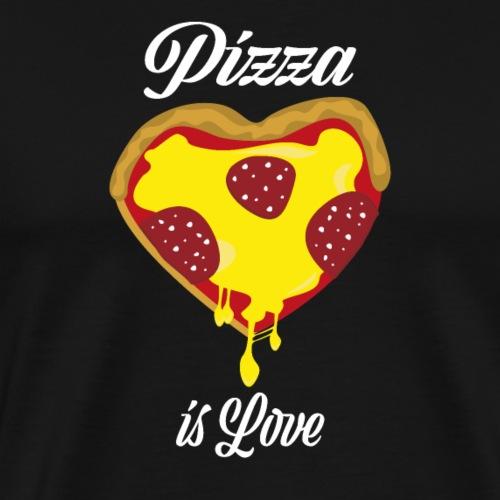 Pizza is Love lustiges Pizza Herz - Männer Premium T-Shirt